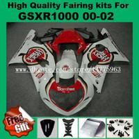 carenado de la suerte al por mayor-Kit de carenado de inyección para SUZUKI GSXR1000 2000 2001 2002 GSX-R1000 00 01 02 Carenados GSXR 1000 00-02 Pre-perforado rojo blanco afortunado