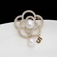 Wholesale Black Rhinestone Flower Brooch - Fashion luxury 5 brooch letters flower Rhinestone Girls Party Wedding brooches