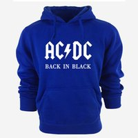 Wholesale Dc Pullover Hoodie - Wholesale-AC DC Band Rock Hoodies Men's Sweatshirt Long Sleeve cotton thick hoody For Men Tracksuit Male Pullover New Arrivals