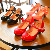 Wholesale Korean Wedding Dresses Red - Summer Fashion Children Dress Shoes PU leather Girls princess Wedding Shoes Toddler Korean high-heeled shoes baby Infant Kids Footwear A351