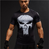 Wholesale Long Body T Shirts Men - Wholesale- Compression Shirts Men 3D Printed T-shirts Short Sleeve Cosplay Fitness Body Building Male Crossfit Tops Punk Skull Skeleton