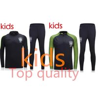 Wholesale Soccer Tracksuit Free Shipping - Top quality Brazil kids soccer tracksuit chandal kids football Tracksuit training suit skinny pants free shipping