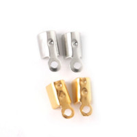 Hot- 500pcs Gold / Rhodium Plated Necklace Cord Crimp End Caps clasps contas 4 * 8mm Jewelry Findings Componentes para moda DIY
