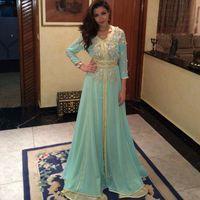 Wholesale shiny evening gowns - 2018 Long Sleeve Evening Dress Dubai Arabic Kaftan Beaded Shiny Crystal Light Green robe de soiree Prom Dresses Formal Evening Gowns