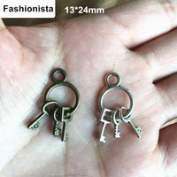 Wholesale Wholesale Jewelry Embellishments - 40 pcs Key Charms, Key Embellishments,Scrapbook,Crafting,Jewelry Supplies,Steampunk Trinket,13*24mm Antique Bronze  Antique Silver