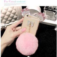 pour Iphone 5 5S SE 6 6S 7 8 plus Jolie Bague mignonne Diamond Fur Bow Pompom Soft Case