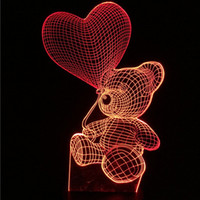 Wholesale night light bear table for sale - Group buy Teddy Bear Table Lamp Color Change Night Light Decorative Home Lighting Enfant New Year Gifts D Hot Sell gb J R