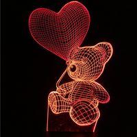 teddybär verkaufen großhandel-Teddybär Tischlampe Farbwechsel Nachtlicht Dekorative Beleuchtung Enfant Neujahr Geschenke 3D Heißer Verkauf 30 gb J R