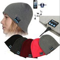 fones de ouvido de feijão venda por atacado-Música Bluetooth Beanie Hat Sem Fio Cap Inteligente fone de Ouvido Fone De Ouvido Microfone Handsfree Música Hat Pacote Saco OPP OOA2979