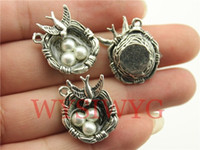 Wholesale Silver Bird Eggs Nest - Wholesale-WYSIWYG 2pcs 24*19*8mm antique silver nest with bird and eggs charms