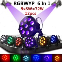 Wholesale Dj Par 64 - GBAR 12PCS CREE 6IN1 9*8W Par 64 RGBWA+UV Led Par Light DMX 512 Stage Party DJ Show Wedding Disco Wash