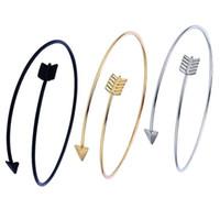 silber pfeil armband großhandel-Modeschmuck Pfeil Armbänder Legierung Eröffnung Pfeil Charme Armreifen Für Frauen Einstellbare armreif Gold Silber Schwarz