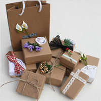 Wholesale Ancient Paper - XS NEW Ancient Ways Kraft Paper Box A Variety Of Sizes Jewelry & Bracelet & Necklace & Ring Packing Box Jewelry New Year Gif Boxes Wholesale