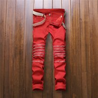 Wholesale Red Street Light - Wholesale-2016 New Mens Knee Zipper Jeans red Destroyed Ripped Hole Jeans Nightclubs Skinny Denim Pants fashion street zipper trousers
