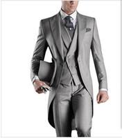 Wholesale italian wool men suit - 2017 New Arrival Italian men tailcoat gray wedding suits for men groomsmen 3 pieces groom wedding suits peaked lapel men suits