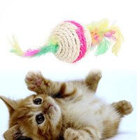 Multicolor 10pcs Pet Round Cat Kitten Feather Sisal Rope Ball Rattle Cat Toys