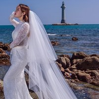 Wholesale Ivory 2t Veil Lace - 2T Double Tier 3M Soft Tulle Mantilla Cathedral Bridal Veil with Comb Ivory