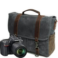 Wholesale Waterproof Camera Messenger Bag - The New Retro cloth waterproof canvas with leather wax Shoulder Bag Messenger Bag portable photography camera can send
