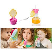 Wholesale Bottle Plastic Water Cap - Children Portable Spill Proof Juice Soda Water Bottle Twist Cover Cap With Straw Drink Straw Sippy Cap Feeding for Kids 200pcs OOA2770