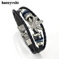 Wholesale Maple Leaf Charms Wholesale - Wholesale-Punk Jewelry vintage silver plated Alloy button Maple Leaf Accessories brown Weave Genuine leather Men Bracelet male Bangles