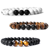 Wholesale Gift Set Perfumes - 3 Style Perfume Tigter Eye Stone Agate Bracelet Mens Essential Oil Diffuser Bracelet Beads Good Luck Yoga Bracelet Christmas Gift B574S