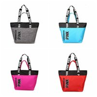 Wholesale Wholesalers Unisex Handbags - Pink Letter Totes Shopping Bags VS Handbags Shoulder Bags Pink Travel Duffle Bags Waterproof Beach Bag Shoulder Bag 50pcs LJJO2816