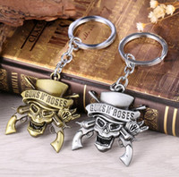 Wholesale Double Ball Lock - Hot sale Selling new guns and rose band skeleton double gun logo key chain pendant KR301 Keychains mix order 20 pieces a lot