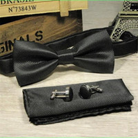 Wholesale Steel Neck Cuff - man bowtie 3pcs set butterfly man bowknot handkerchief cuff link set wedding dress suits bow tie grid pocket square set vintage handky
