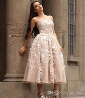 Wholesale elie saab cocktail - Elie saab Vestido 2017 Strapless lace evening Dresses Tea-Length Champagne party prom Evening Gowns Size 4 6 8 10 12 14