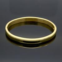 pulseiras de bracelete simples venda por atacado-Simples Suave Casal Jóias de Aço Inoxidável Rosa Cor Ouro Amante Pulseira Plain Amor Pulseiras Pulseiras Para Mulheres Dos Homens Presente Presente de Natal