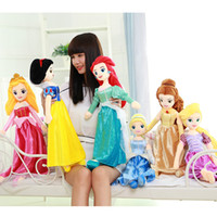 Wholesale Mermaid Princess - Classic Princess Mermaid Rapunzel Snow White Sleeping Beauty Cinderella Beauty And Beast Plush Dolls For Girls Kids Toys 65CM