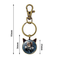 Wholesale cute cat ears ring resale online - 5pcs Fashion Cute Cat Time Gem Keychain Vintage Jewelry Antique Bronze Cat Ear Key Chain Pendant Key Ring Women Men