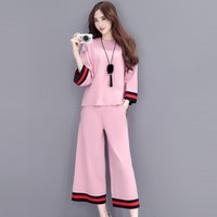 Wholesale Elegant Casual Pants Suits - 2017 Runway Fashion Elegant Autumn Loose Knitted Pant Suits Casual 2 Piece Set Women Sweater Tops And Wide leg pants Suit