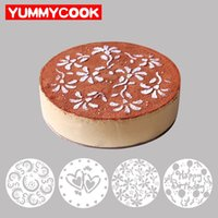 Wholesale Stencils Cakes - 4 Pieces lot Cake Stencils Latte Art Birthday Printing Mold Decorating Wedding Cooking Party Kitchen Pastry Tools Accessories