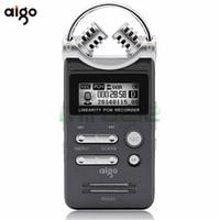 batería mini grabadora al por mayor-Al por mayor- Aigo R6601 8GB grabadora digital profesional HD MP3 mini reducción de ruido ADPCM / WAV batería de litio 3D doble micrófono dictáfono