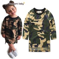 Wholesale T Shirts For Baby Girls - New Baby Camouflage T-shirts Dress For Little Girls Spring Fall Cotton Long Sleeve Irregular Edge Dress Babies Shirts Tops Dresses For 1-5T