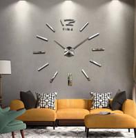 horloge murale numérique miroir achat en gros de-Gros-Hot 120 cm Grande Taille Design Moderne DIY 3D Horloge Murale Horloge Murale Montre Autocollants Reloj De Pared Acrylique Miroir Horloges