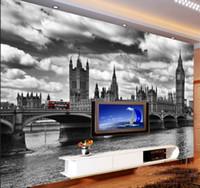 Wholesale Print Big Photos - Wholesale England City scenery black&white Big Ben photo mural wallpaper for living room background 3d wall mural vinyl fresco