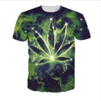 Wholesale Mens Galaxy T Shirt - New Greative Pot Leaf Constellation Galaxy Space Funny printed 3d womens mens t shirt crewneck t shirt short sleeve shirts XTX0012