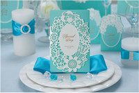 Wholesale Romantic Blue And Pink Lace Wedding Invitation Cards Laser Cut Hollow Flowers Personalized Folded Wedding Invitations Cards