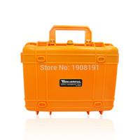sert plastik su geçirmez kasa toptan satış-Toptan-Kamera Video Ekipmanları için köpük ile Su Geçirmez Hard Case Taşıma çantası Siyah Turuncu ABS Plastik Mühürlü Güvenlik Taşınabilir Alet Kutusu