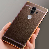 Wholesale Huawei P6 Leather Cover - Luxury Litchi Grain Plating Paint Soft Leather TPU Back Cover Case For Huawei P6 P7 P8 Lite P9 Plus Honor 6 7 V8 Mate 7 8 9 Pro Fundas Coque