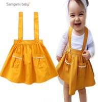 Wholesale Europe Style Elegant - INS Europe and America new arrival Girl dress summer sleeveless 100% cotton yellow color suspender dress girl elegant straps dress