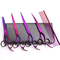 Wholesale pet grooming scissors kit for sale - Group buy C3003 Customized Logo Professional Pets Grooming Hair Scissors Comb Cutting Thinning UP Down Curved Shears Dog Fur Clipper Shears