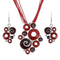 Wholesale Enamel Color Necklace - Women Best Gift Ethnic Retro Enamel African Jewelry Sets Necklace + Earrings Wedding Sets Red Color Crystal Stone Bijoux