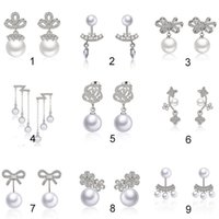 Wholesale Ears Anti - High quality zircon pearl silver earrings, jewelry, and anti allergic temperament ear clip earrings, earrings small jewelry wholesale
