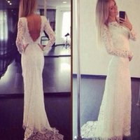 Wholesale Cheap Full Sleeve Evening Dresses - Long Sleeve Full Lace Fitted Prom Dress Illusion Neck V Back Elegant Reception Gowns Evening Party Wear with Sweep Train Cheap High Quality