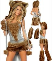 Wholesale Free Sexy Wolf Women - HOT Halloween Costumes Brown Wolf Animal Loaded With Fur Claws With Tail Clown Sexy Dress Suits