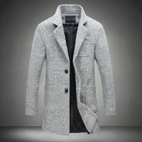 Wholesale Casual Trench Coats - Wholesale- 2017 New Long Trench Coat Men Windbreak Winter Fashion Mens Overcoat 40% Wool Quality Thick Warm Trench Coat Male Jackets 5XL