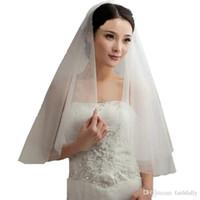 Wholesale Short Tier Wedding Veils - 2017 White Ivory Bridal Veil Tulle 2 Tier Short Wedding Veils Cut Edge Mantilla Party Proms Dress Accessories with Plastic Comb
